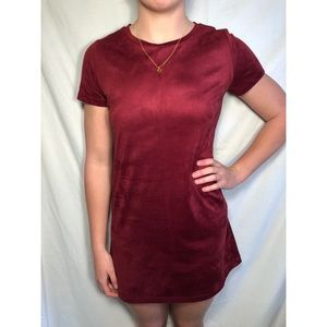 Maroon Velvet T-Shirt Dress